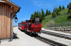 Steam locomotive of a vintage cogwheel railway going to Schafberg, Wolfgangsee Royalty Free Stock Photos
