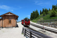 Steam locomotive of a vintage cogwheel railway going to Schafberg, Wolfgangsee Royalty Free Stock Photography