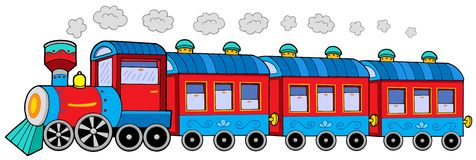 Steam locomotive with wagons royalty free illustration