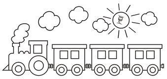 Steam locomotive with wagons. In background is the smoke and the sun. Coloring book for kids. Vector illustration royalty free illustration