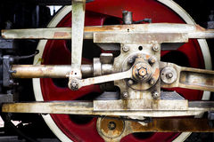 Steam locomotive wheel. Steam locomotive red wheel close-up stock image