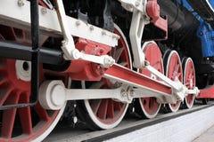 Steam locomotive wheels. Of memorial locomotive in the Novosibirsk city, Russia Stock Image