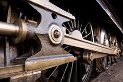 Steam locomotive wheels. And coupling rods Royalty Free Stock Photography