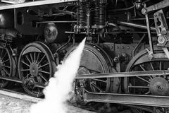 Steam locomotive wheels. Black and White Royalty Free Stock Photography