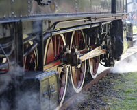 Steam locomotive wheels close up Stock Images