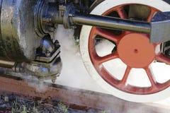 Steam locomotive wheels close up Royalty Free Stock Image