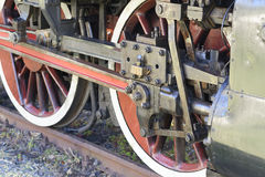 Steam locomotive wheels close up Royalty Free Stock Photo