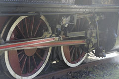 Steam locomotive wheels close up Stock Photos
