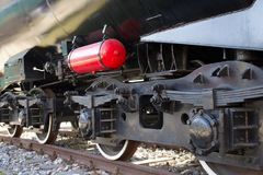 Steam locomotive wheels close up royalty free stock photography
