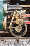 Steam locomotive wheels and rods closeup Stock Photo