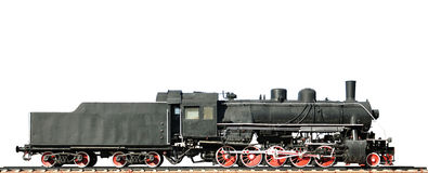 Steam locomotive on white background Stock Images