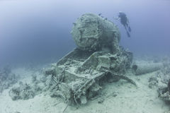 Steam locomotive wreck on the seabed Royalty Free Stock Photography