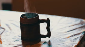 Steam from a morning cup stock video footage