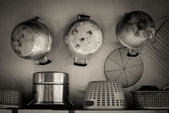Steam over cooking pot i. N kitchen Royalty Free Stock Photography