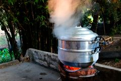 Steam over cooking pot on nature background stock image