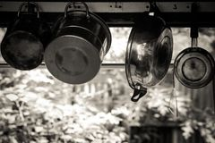 Steam over cooking pot. In kitchen Stock Photo