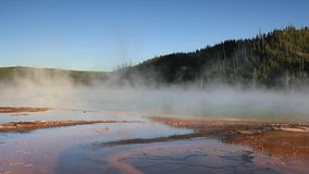 Steam over the Grand Prismatic Spring stock video footage