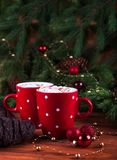 Steam over hot chocolate. Red cup with cocoa and marshmelow Stock Photography