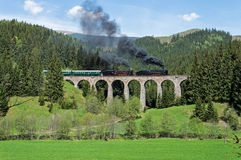 Steam Paradise. Two splendid steam locomotives on the old viaduct near the Slovak Paradise stock image