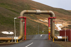 Steam pipe in a geothermal power station Stock Photos