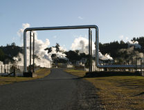 Steam Pipes 3. Detail of geothermal power station, New Zealand stock photos