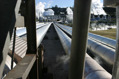 Steam Pipes. Detail of geothermal power station, New Zealand stock photo