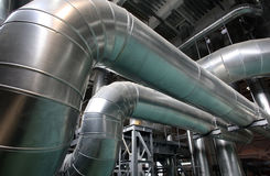 The steam pipes at thermal power plant Stock Image