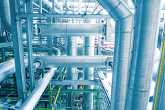 Steam piping with thermal insulation. In Boiler of power plant Blue tone stock photo
