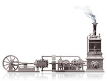 Steam plant motif. Original illustration of a steam plant motif stock illustration