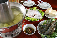 Steam-pot. Ingredients, sauce & set up for fine soup steam-pot Royalty Free Stock Photo