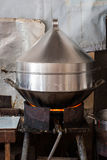 A steam pot on a  gas stove Royalty Free Stock Photography