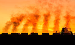 Steam power plant in the morning Stock Images