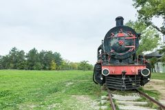 Steam power train from Orient Express era. At the old railway station in Edirne,Turkey.17 October 2015 royalty free stock photography