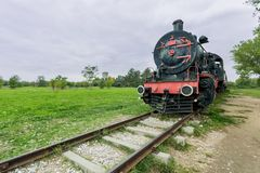 Steam power train from Orient Express era. At the old railway station in Edirne,Turkey.17 October 2015 stock photography