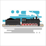 Steam powered locomotive vector illustration. Vintage retro train. Old antique machinery flat design Stock Photography