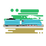 Steam powered locomotive vector illustration. Vintage retro train. Old antique machinery flat design Stock Image