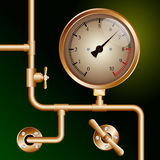 Steam powered traction engine boiler pressure gauge Royalty Free Stock Photo