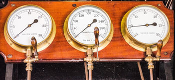 Steam pressure  guages Stock Photography