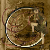 Steam punk. A woman with steampunk themed objects Stock Photos