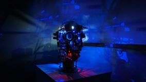 Steam punk metal robot head with blue background wide image. Steam punk art metal mechanical robot head with blue background wide image stock images