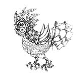 Steam punk  bird Rooster symbol of 2017 New Year. Steam punk mechanical bird Rooster symbol of 2017 New Year Stock Photo