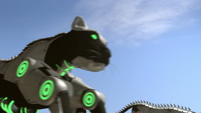 Steam punk black cats - 24 fps. A 3D animation of black artificial panthers running. A lot of smoke and dust around the environment. This clip is rendered in 24 vector illustration