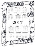 Steam punk Calendar 2017  isolated on white. Steam punk Calendar 2017 hand drawn isolated on white Vector Illustration