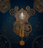 Steam punk clock background Stock Photos