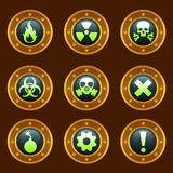 Steam punk danger signs. Set of metallic danger icons Royalty Free Stock Images