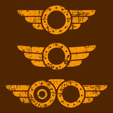 Steam punk emblem set Royalty Free Stock Image
