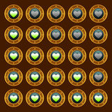 Steam punk game web rating hearts set Stock Photos
