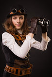 Steam punk girl with binocular Stock Photo