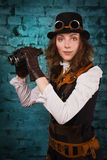 Steam punk girl with binocular Royalty Free Stock Images