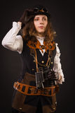 Steam punk girl with binocular Stock Image